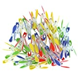 Set of 72 Plastic Clothespins by Kurtzy - Extra Strong Clothes Peg with Soft Grip Perfect for Hanging Clothes on Clothing Rack and Line - Red, Blue, Yellow and Green Washing Laundry Clothes pins