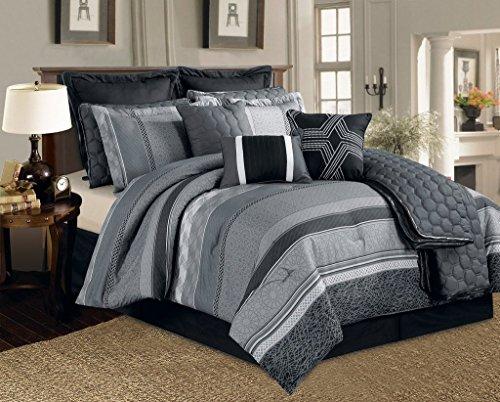 Legacy Decor 12 Pc. Black, Grey and White Striped Pattern Co