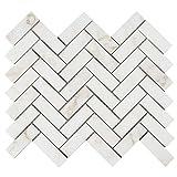 Diflart New Calacatta Gold Marble 1x3 Inch Herringbone Mosaic Tile Calacatta Pindos Polished, 5 Sheets/Box (Herringbone 1×3)