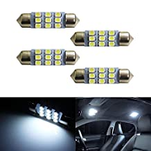 """iJDMTOY (4) Xenon White 9-SMD Festoon 1.50"""" 36-39mm LED Bulbs 6418 6413 6411 C5W For Car Interior Dome Lights, Cargo Area Trunk Room Lights, etc"""