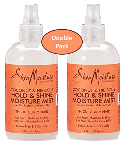 Shea Moisture Coconut Hibiscus Hold & Shine Daily Moisture Mist w/ Silk protein & Neem Oil 8 oz - Thick, Curly Hair - Sulfate Free & Color Safe- Value Double Pack - Qty of 2 Each