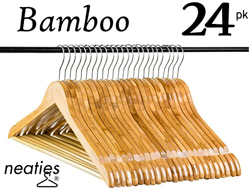 Natural Bamboo Wood Hangers w/Notches and Non-Slip Bar for Eco-Friendly Closet, Highest Quality Bamboo Hangers, VALUE set of 24