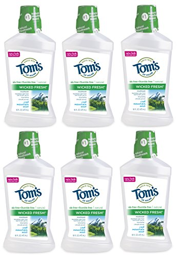 Tom's of Maine Long Lasting Wicked Fresh Cool Mountain Mouth Wash Bottle, Mint, 16 Ounce ( Pack of 6 ) by Tom's of Maine