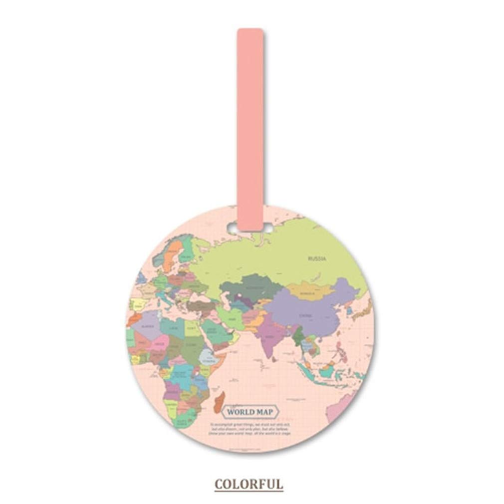 GloryMM PVC Luggage Tags World Map Round Tag Suitcase Labels Decor Bag Pendant Travel Accessories Baggage Name Tags,Pink