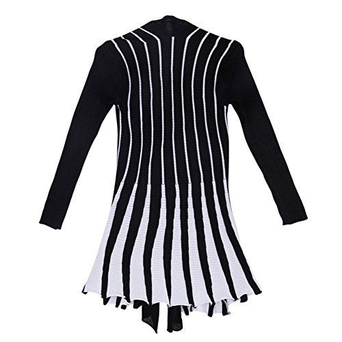 Sweater Manteau Noir Longues Femme Veste Tricot Vintage LAEMILIA Cardigan Rayures Gilet Manches UvfzBq
