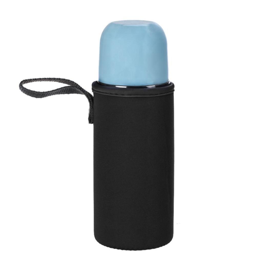 bb67クリアプラスチックポータブルバッグfor水カップボトル、ソフト快適なネオプレンボトルバッグ B07FD6S5RS  ブラック