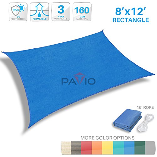 Patio Paradise 8′ x 12′ Blue Sun Shade Sail Rectangle Canopy – Permeable UV Bl ...
