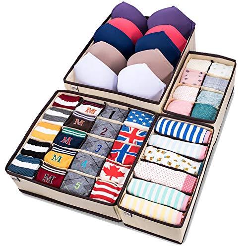MIU COLOR Armario plegable Organizador de ropa interior Divisor de cajones Cajas de almacenamiento Organizador debajo de la cama 4 Set para ropa interior, sujetadores, calcetines, corbatas, bufandas