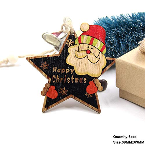 Mydufish 3PCS Multi Lovely DIY Christmas Wooden Pendant Ornaments Wood Craft for Xmas -