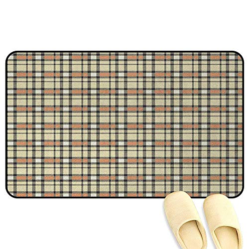 Aberdeen Tartan - homecoco Abstract Office Chair Mat Tartan with Diagonal Bands Lines Authentic Image Amber Green Charcoal Grey Indoor/Outdoor/Front Door/Bathroom Mats Rubber Non Slip W16 x L24 INCH