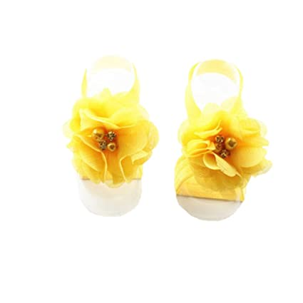 Zhuotop Baby Girls fascia elastica piede fiore a piedi nudi sandali per neonati e bambini Decor accessori Light Purple taglia unica lQ57JsT4