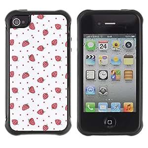 WAWU Funda Carcasa Bumper con Absorci??e Impactos y Anti-Ara??s Espalda Slim Rugged Armor -- strawberries pink red wallpaper art -- Apple Iphone 4 / 4S