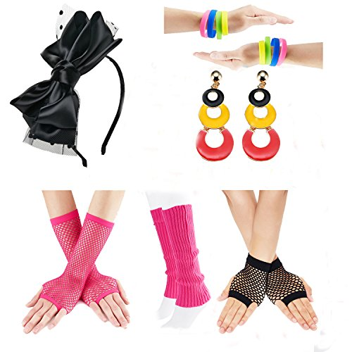80s Fancy Outfit Costume Accessories Set,Leg Warmers,Fishnet Gloves,Neon Earrings and bowknot headband (OneSize, With ()