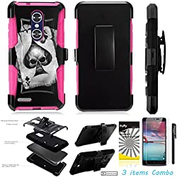 For ZTE BLADE X MAX Z983 /3Items [Clear LCD Film]+Stylus Pen+[Impact Resistance] Dual Layer [Belt Clip] Holster Combo [KickStand] Phone Case Spade Skull - Pink