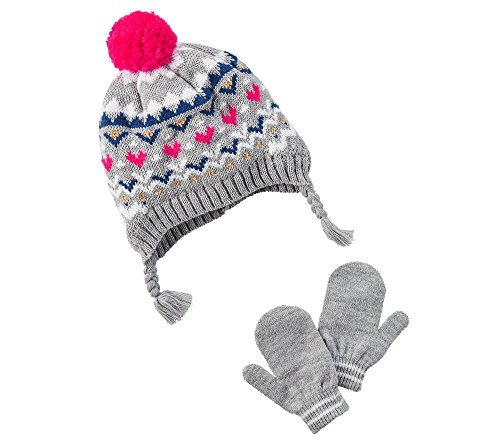 Carter's Girls' 12 Months-4T Fairisle Hat and Mittens set 12/24 Months