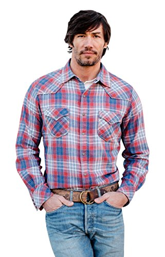Ryan Michael Frost Jaspe Flannel Plaid Western Style Shirt With Rope Stitch Details