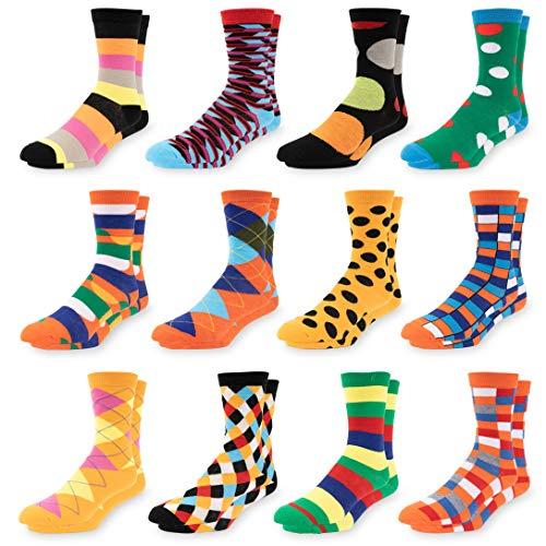 Men's Colorful Dress Socks - Fun Patterned Funky Crew Socks For Men - 12 Pack (Style 2)