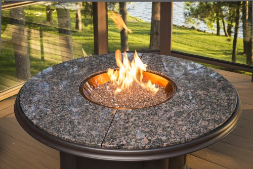 Outdoor Great Room Chat Crystal Fire Pit with Granite Top, 48-Inch