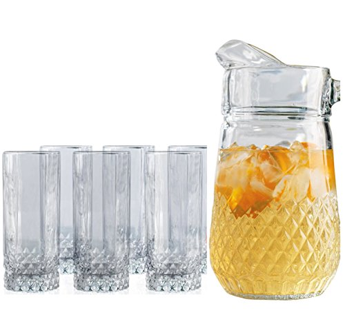 Set Of 7 Pitcher and Glasses Set, 1-64 Ounce Glass Pitcher and 6-10 Ounce Highball Drinking Glasses, Clear Solid Heavy Base Ice Tea Juice Beer Beverage Party Cups (Small Martini Pitcher compare prices)