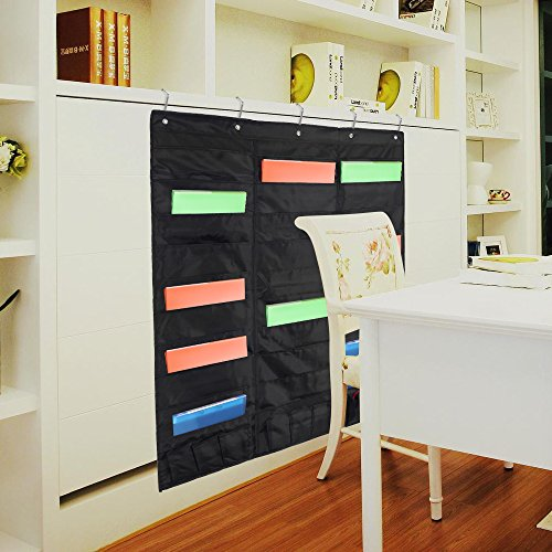 Samstar Wall File Folder Organizer (Black), Storage Pocket Chart for School, Classroom, Home or Office Use, 30 Pocket Chart Hanging Wall Organizer with 5 Hangers by SamStar (Image #4)