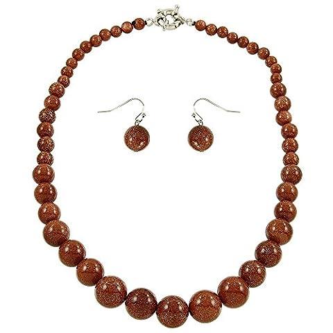 Falari Natural Gemstone Necklace Earring Set Goldsand Stone - Goldstone Set