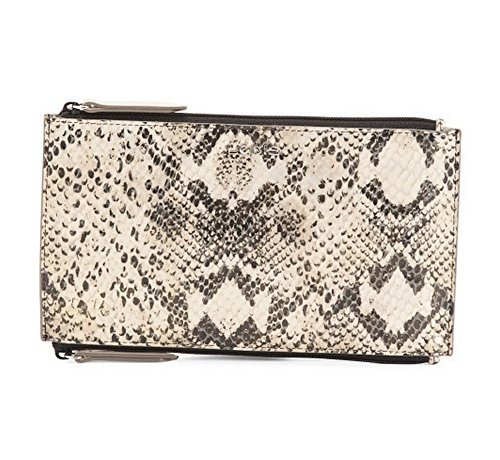 Lodis Accessories Women's Kate Exotic Lani Double Zip Pouch Black/Taupe ()