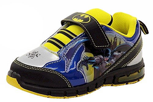 Batman Light Up Shoes (Batman Boy's Gotham Guardian Blue/Black/Yellow Light Up Sneakers Shoes Sz: 9T)