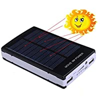 iMeshbeanPortable 50000mAh Dual USB Solar Battery Charger Power Bank Phone Charger with Carabiner LED Lights for Emergency Cell Phones Tablet Camera