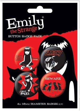 Emily The Strange Chapas Pin Set (Pack de 4 Pins): Amazon.es: Deportes y aire libre