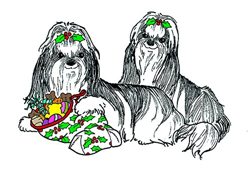 (10 Pack) Shih Tzu Christmas Card (Inside Reads: Merry Christmas!)