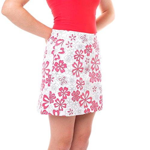 Haute Shot Golf Ladies Skort - Cotton/Spandex with Pockets (Plumeria, -