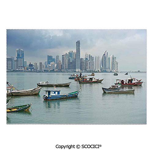 SCOCICI Set of 6 Durable Polyester Place Mats Heat Resistant Table Mats Anchored Fishing Boats Skyscrapers Panama Cityscape Pacific Coast Central America for Party Kitchen Dining Table -