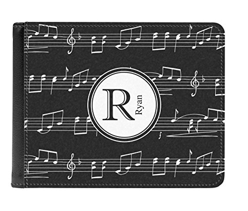Bi fold Men's Genuine Musical Notes Wallet Notes Personalized Leather Musical 0HYqta
