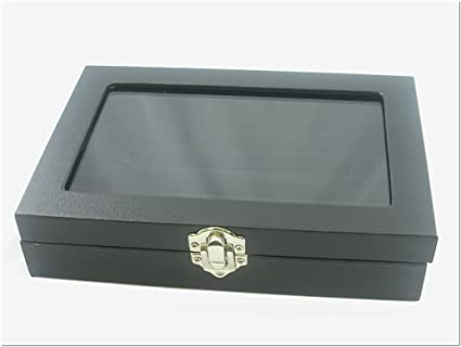 Amazoncom Small Glass Top Lid Black Velvet Jewelry Display Box for