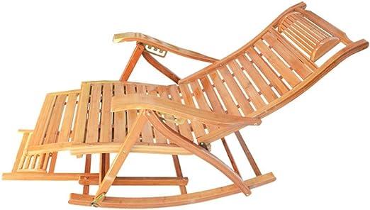 Silla Gravedad Cero Tumbonas Tumbona De Bambú Tumbona Mecedora - Reclinador Ergonómico De Madera para Jardín Patio Piscina Sauna, Soporte 200 Kg: Amazon.es: Hogar