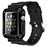 iitee 38mm Rugged Protective iWatch Case and Band with Built-in Screen Protector for Apple Watch Series 3/2/1 (Black)