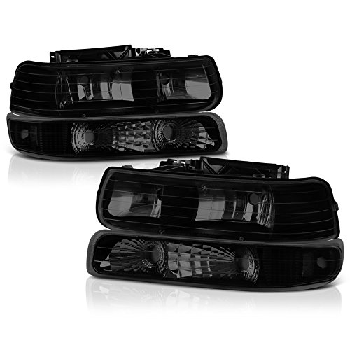 (VIPMOTOZ Black Smoke OE-Style Headlight & Parking Turn Signal Lamp Assembly For 1999-2002 Chevy Silverado 1500 2500 3500 & 2000-2006 Tahoe Suburban, Driver & Passenger Side)