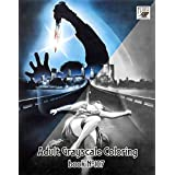 """Adult Coloring Book (24 pages 8""""x11""""/A4) Giallo Vintage Trash Horror Movie Posters FLONZ Vintage Designs for Grayscale Coloring"""