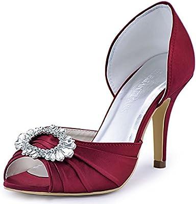 245fdd70338 ElegantPark A2136 Women High Heel Pumps Peep Toe Brooch Ruched Satin ...