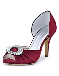 ElegantPark A2136 Women Women Satin Peep Toe Ruched Rhinestones Pumps High Heel Evening Prom Shoes