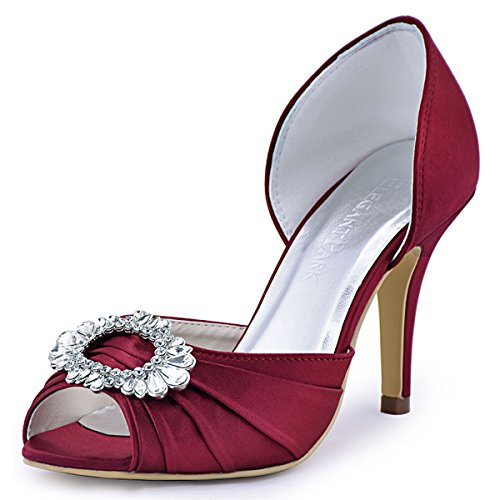 Classy High Heels (ElegantPark A2136 Women High Heel Pumps Peep Toe Brooch Ruched Satin Evening Prom Wedding Shoes Burgundy US 10)