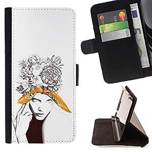 Momo Phone Case / Flip Funda de Cuero Case Cover - Hermosa floral tatuaje Mujer - HTC One M9