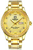 Swiss Made Men Luxury Gold Watches,Automatic Analog Display Calendar Week Luminous Gold Stainless Diamond Watches (All Gold Color)