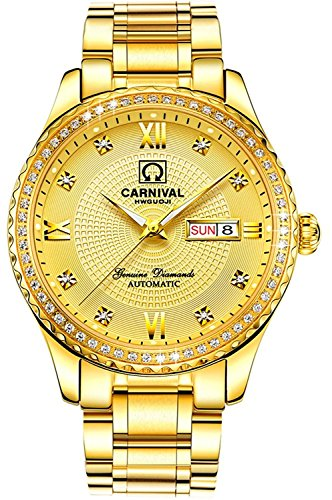 Swiss Brands Men's Automatic Watches Gold Silver Stainless Steel Waterproof Calendar Diamond Wrist Watch