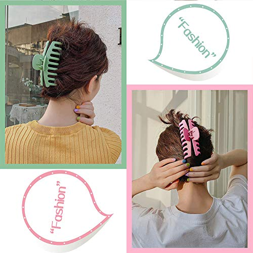 6Pcs 4 Inch Matte Plastic Hair Claw Clips,Large Nonslip Hair Claw Clips Strong Hold Thick Hair for Women and Grils(6 Color Available)