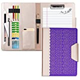 WWW Portfolio Case Padfolio A4 File Folder Padfolio, Interview/Legal Document Organizer with Business Card Holders, Letter-Sized Clipboard and 10.5 inch Tablet Sleeve for Office and Interview Purple