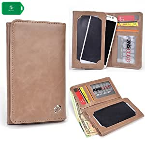 UNIVERSAL unisex BI FOLD WALLET/PHONE CASE W/TOUCH SCREEN IN NUDE FOR RadioShack Samsung Galaxy Discover No-Contract Smartphone-