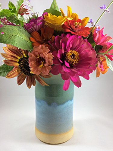 Ceramic Vase in Blue and Teal (Pottery Vase)