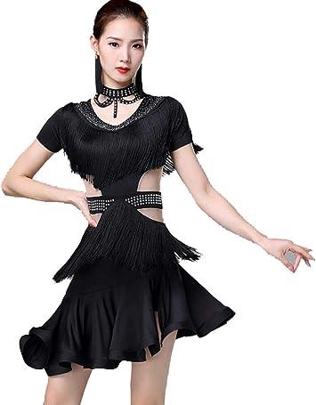YZLL Vestido de Baile Latino con Borla Disfraz de Baile para Mujer ...