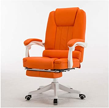 Amazon Com Yb Desk Chair For Home Office Swivel Chair Comfy Padded Computer Chair Adjustable Height Chair Leather Task Chair For Home Office Study Color Orange Furniture Decor